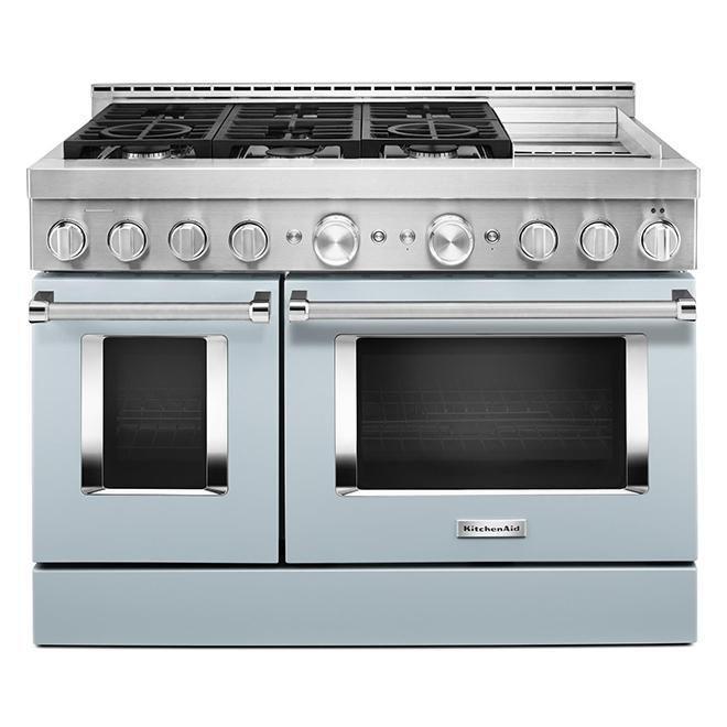 """Cuisinière à gaz avec plaque, 6 brûleurs, 48"""", bleu brumeux"""