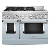 "Gas Range with Griddle- 6 Burners - 48""- Misty Blue"