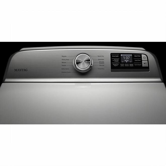 Sécheuse à gaz intelligente Maytag, Extra Power, 7,4 pi³, blanc