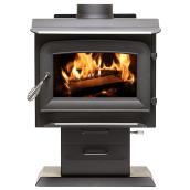 Ashley 1200 Sq-ft Pedestal Wood Stove Black