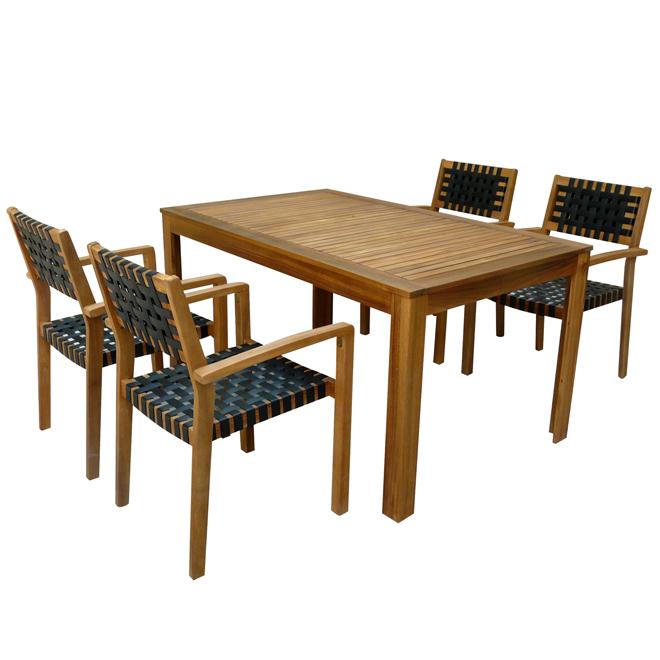 Patio Dining Set - Sao Paulo - Wood/Black - 5 Pieces