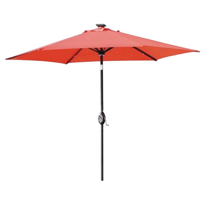 Parasol, lumière solaire/haut-parleur Bluetooth, 9', rouge