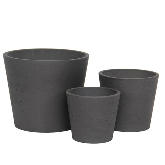 Planter Pots - Stone Powder/Cement - Black - 3 Pack