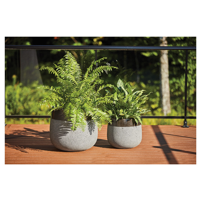 Ibiza Ficonstone Planter Pots - Dark Grey - 2 Pack
