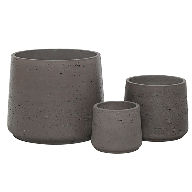 Round Planter Pots - Dark Brown - 3 Pack