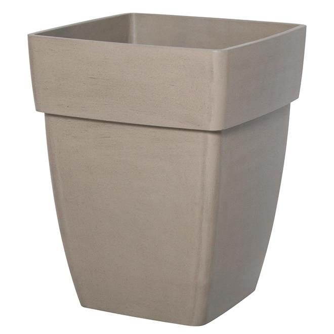 "Square Plastic Planter Pot - 14.5"" - Brown"