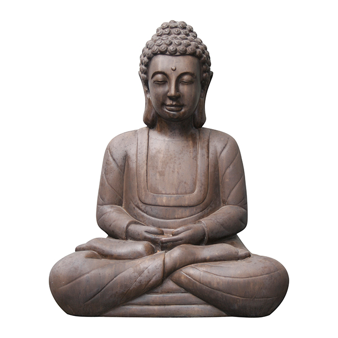 "Buddha Ficonstone Statue - 20"" - Antique brown"