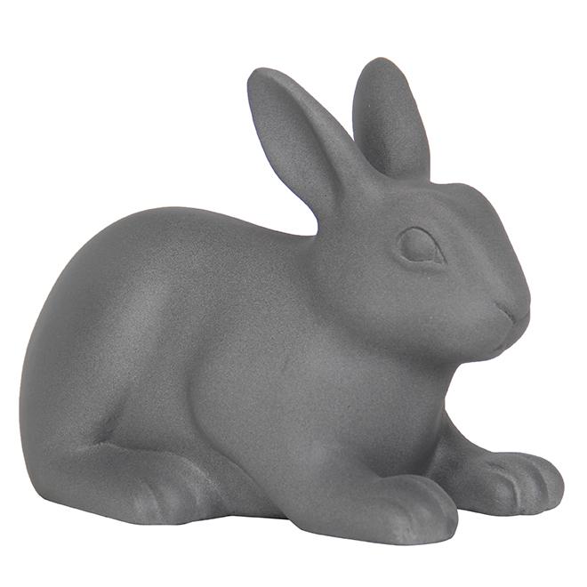 """Statue de jardin de lapin en Ficonstone, 8,5"""", gris mat"""