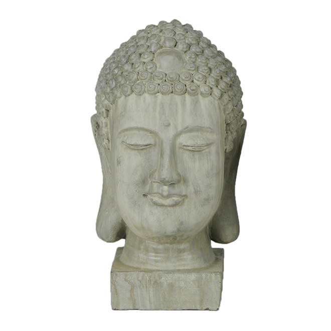 "Buddha Head Ficonstone Garden Statue - 20"" - Antique Green"