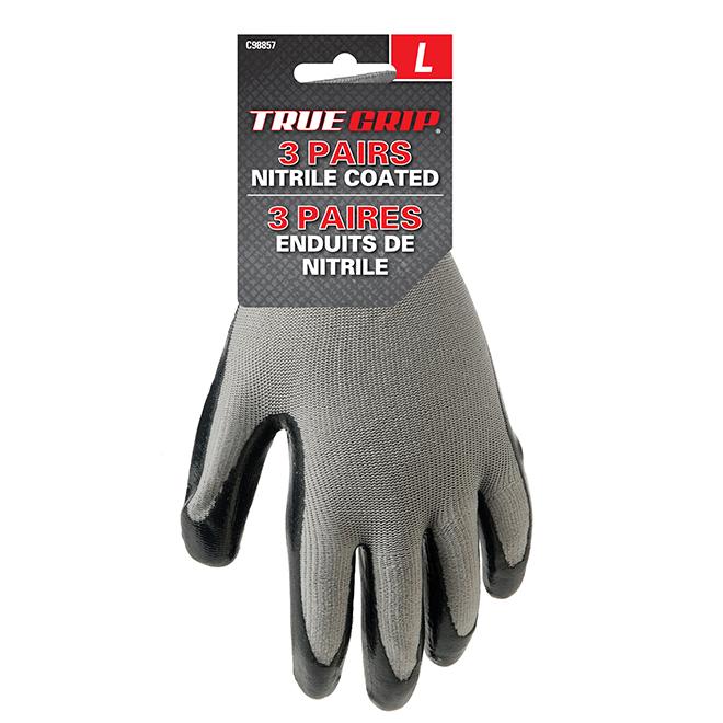 Men's Nitrile Coated Work Gloves - Grey/Black - L - 3 Pairs
