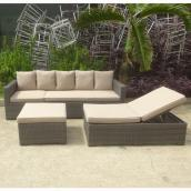 Patio Sectional Set with Lounger Chair - Boris - Beige