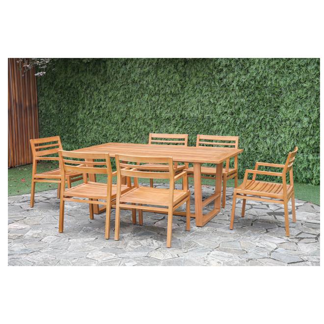 Patio Dining Set - Liley - Eucalyptus - 6 Places