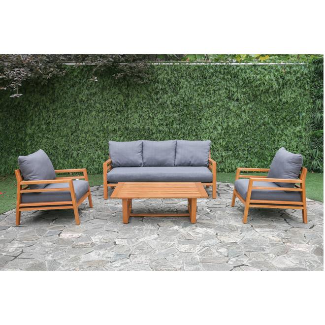Ensemble conversation pour patio Liley, gris/eucalyptus