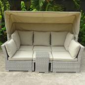 Lit de jour sectionnel pour patio, Mingus, gris/beige