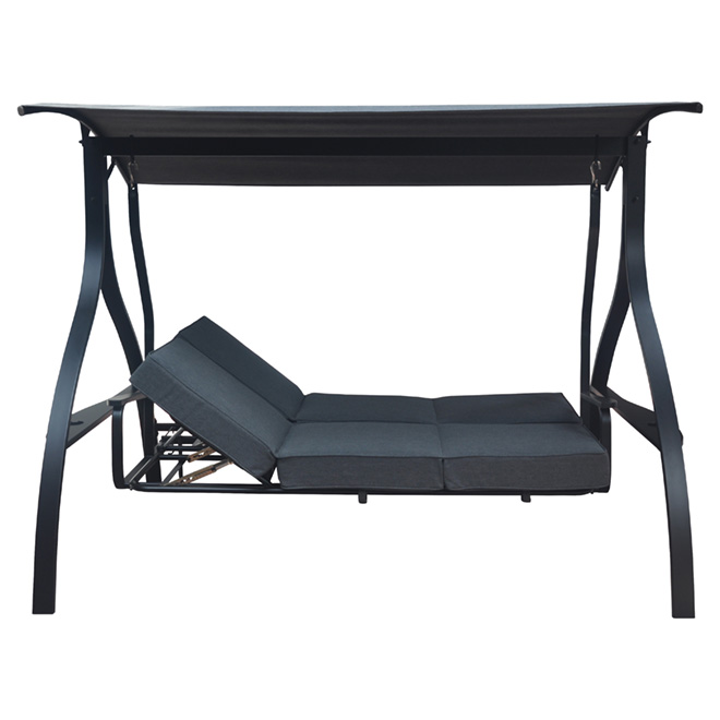 3-Seat Reclining Swing - Steel and Olefin Fabric - Black