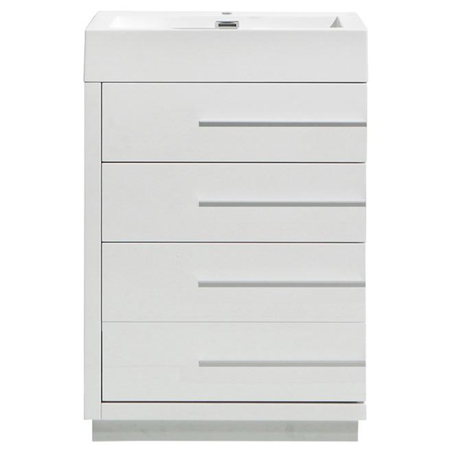 Meuble-lavabo à 3 tiroirs Uberhaus Série LN, blanc lustré