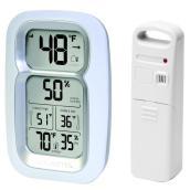 Thermomètre intérieur et extérieur sans fil, blanc