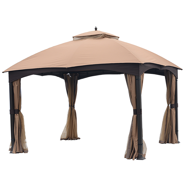 ALLEN + ROTH Gazebo - 10' x 12' - Steel - Curtain and Netting - Brown