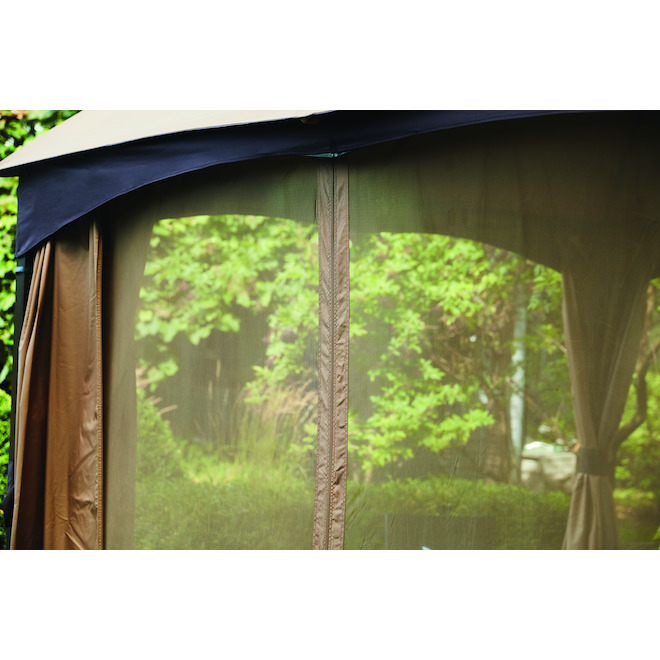 Allen + Roth Steel Gazebo - 10-ft x 12-ft - With Curtain and Netting - Brown