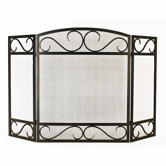 Style Selections 3-Panel Fireplace Screen - Scroll - Steel - 50.2-in x 32-in - Black