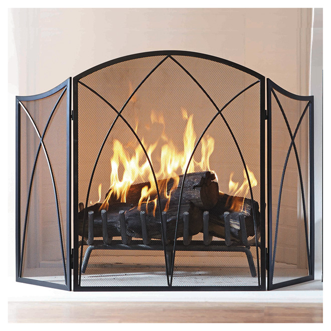 """Arched Fireplace Screen - 47.71"""" - Black"""