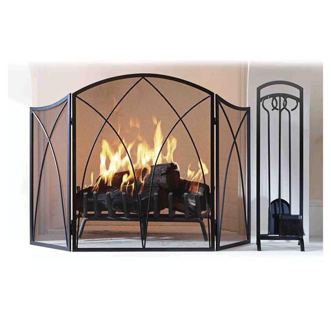 Three-Piece Fireplace Tool Set - Black