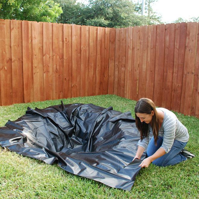 Toile de bassin, 10' x 13', PVC plastique, noir