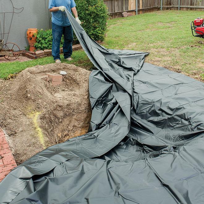 Toile de bassin, 13' x 20', PVC plastique, noir