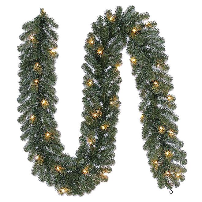 Prelit Pine Garland - 35 White Lights - 9' - Green