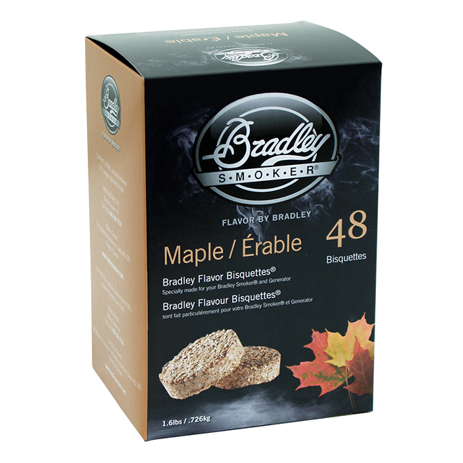 Bradley Wood Briquettes for Smoker - Maple Wood - 48/Pack
