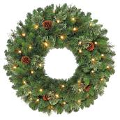 """Leland"" Illuminated Wreath - LED - Warm White"