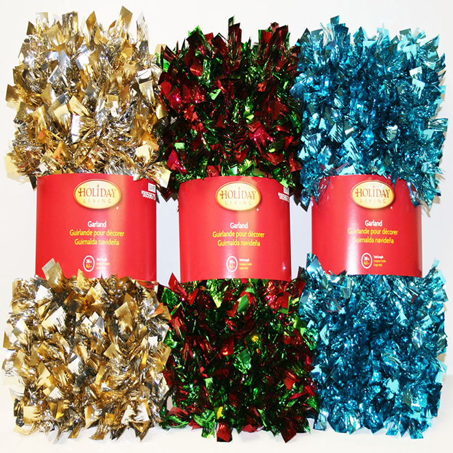 Bow Ties Tinsel Garland - 12' - Assorted
