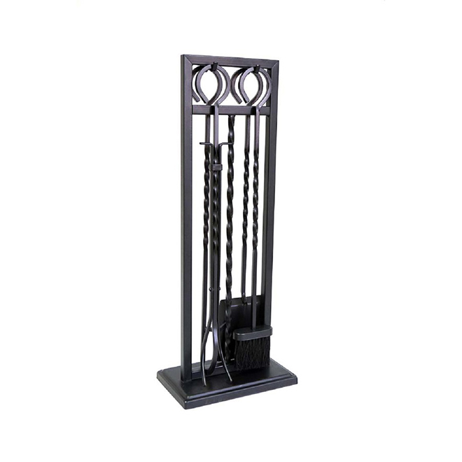 Style Selections Fireplace Tool Set - Steel - Black - 4 Pieces