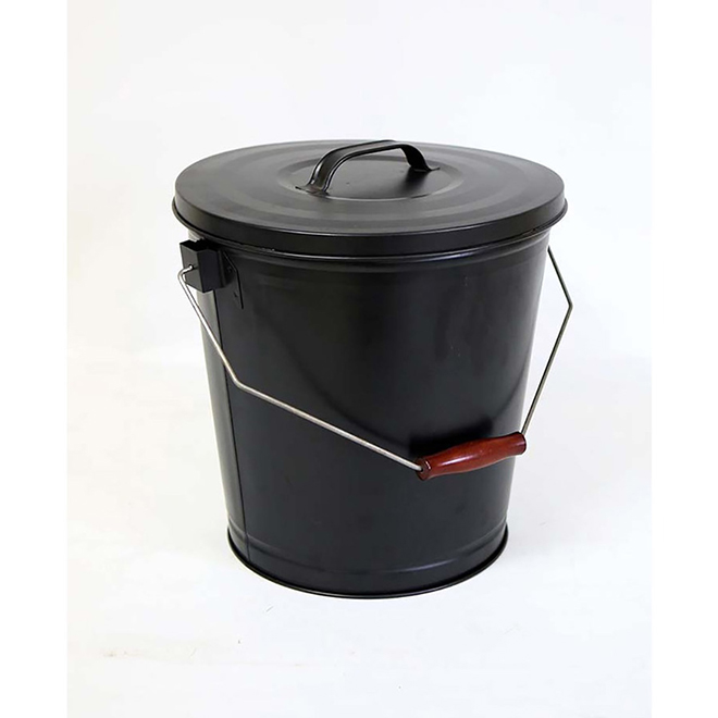 Style Selections Ash Bucket with Lid - 12-in - Steel - Black