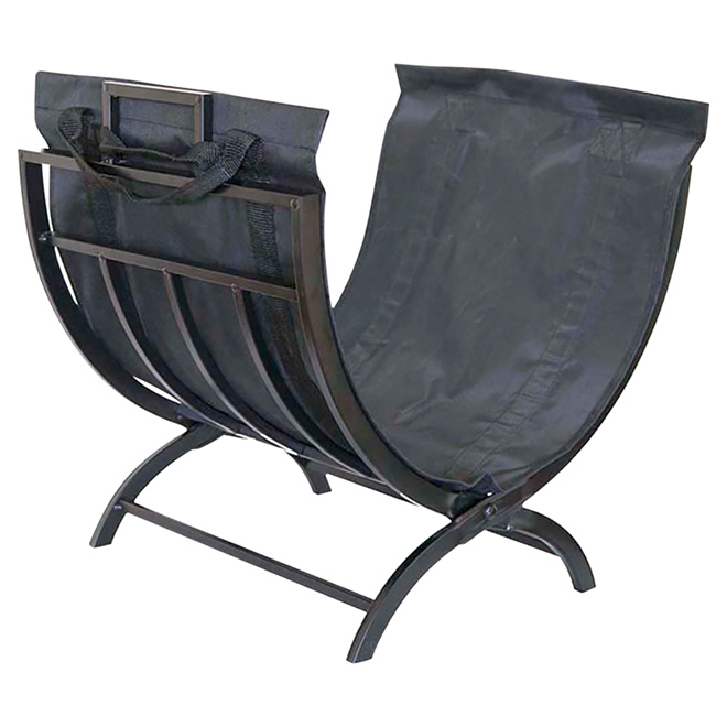 Foldable Log Holder and Tote - Black