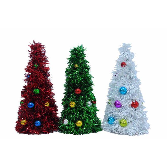 Assortiment d'arbres décoratifs avec boules de Noël, 8 po x 19 po, multicolore
