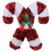 Double Candy Cane Decoration - 17.75-in x 18-in - Red and White