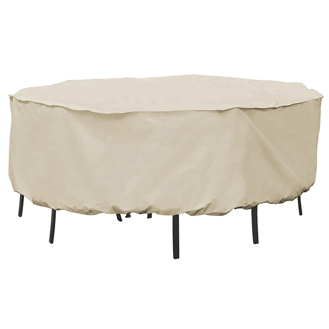 """Patio Round Dining Set Cover - 80"""" x 30"""" - Tan"""