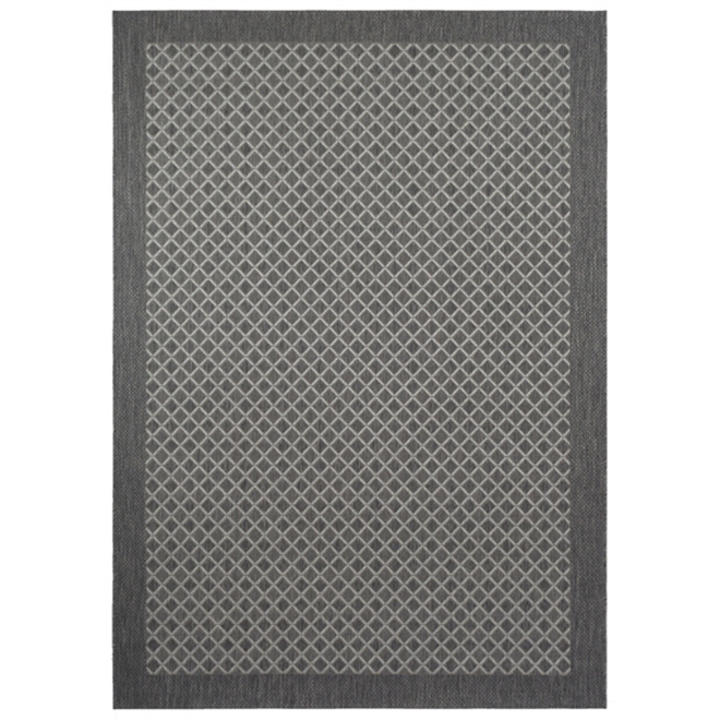 Exterior Area Rug - Grey Diamond Pattern - 5' x 7'