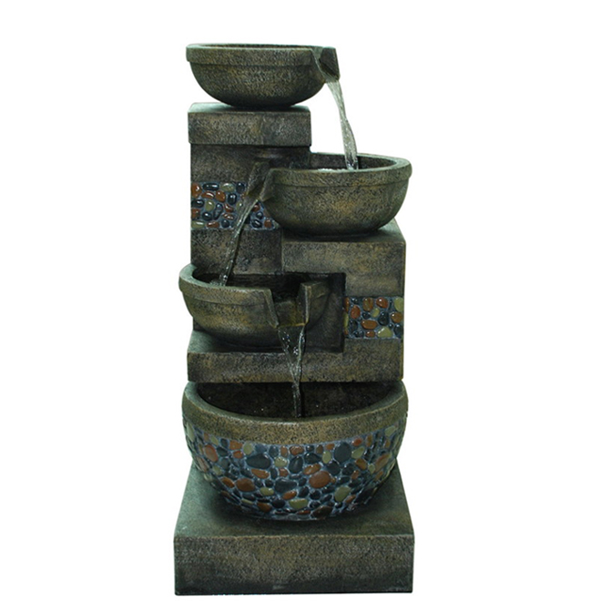 Styles Selections Pebble Fountain - Resin - 32.4-in - Grey