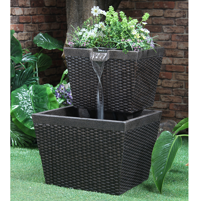 Garden Treasures Tiered Planter Fountain   Black