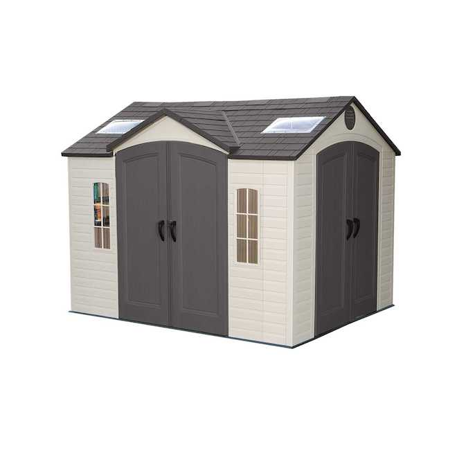 Lifetime Storage Shed with Windows and Shelves - 10-ft x 8-ft - Resin/Steel - Desert Tan