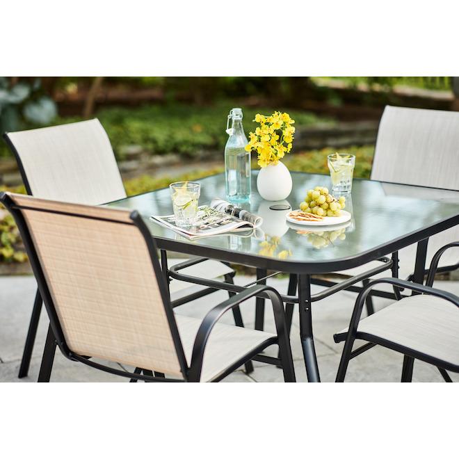 Table Pelham Bay, métal/vitre 42 po noir
