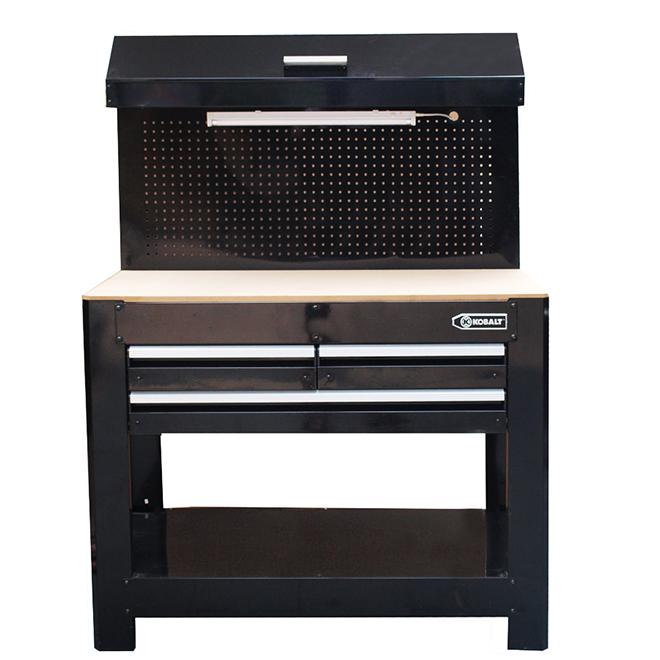 """Heavy-Duty Steel 3-Drawer Workbench - 45"""" x 63"""" - Black"""