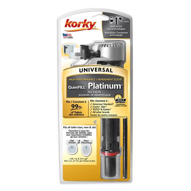 Soupape de remplissage QuietFill Platinum de Korky, ajustable, universelle, plastique, 7 3/4 po à 13 1/2 po H., 2 po dia