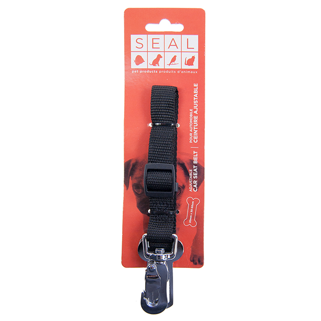 "Adjustable Car Seat Belt for Dogs - 0.78"" x 19.5"" - Black"