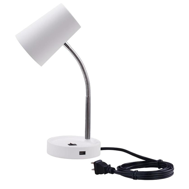 Project Source Desk Lamp with USB Port - LED - 4.5 W - Plastic - White