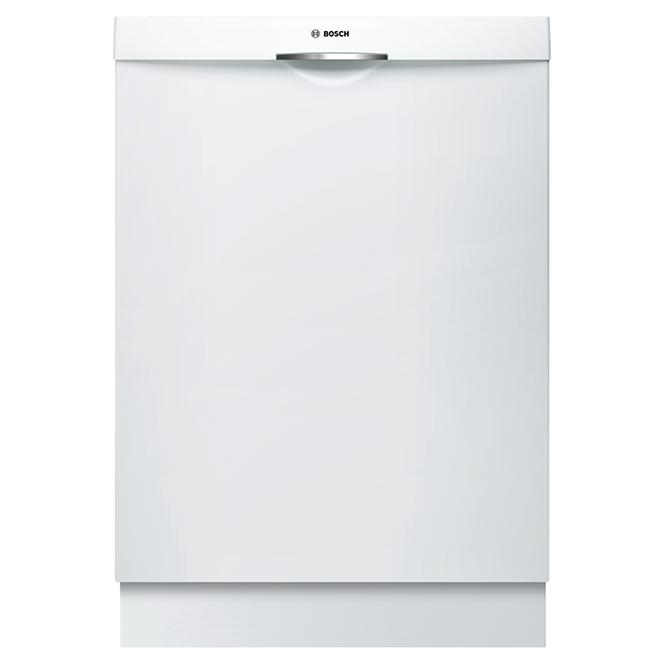 """Lave-vaisselle encastré à poignée convexe, 24"""", blanc"""