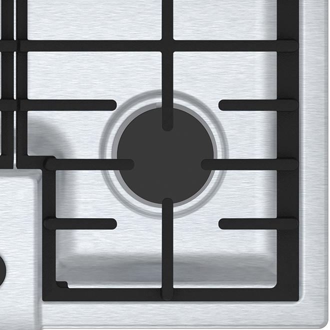 """Surface de cuisson Bosch au gaz, 4 brûleurs, 30"""", inox"""