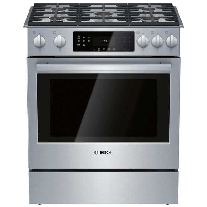 Cuisinière au gaz Bosch série 800, 30 po, 4,8 pi³, acier inoxydable